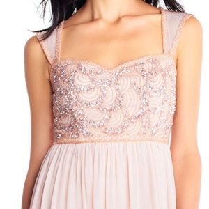 Chiffon dress with rose beaded bodice
